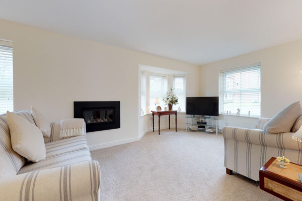 Living room of new home in Wrexham